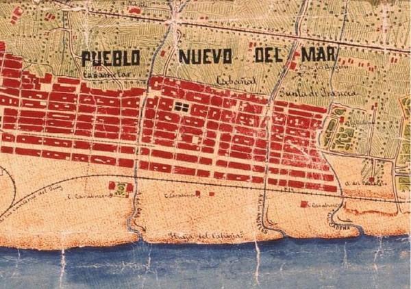 1883 map of Pueblo Nuevo Del Mar